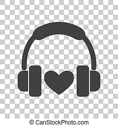 Headphones with heart. Dark gray icon on transparent background.