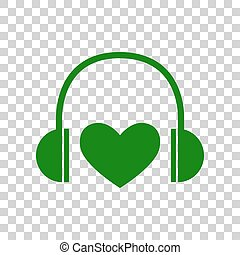Headphones with heart. Dark green icon on transparent background.