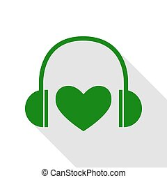 Headphones with heart. Green icon with flat style shadow path.