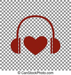 Headphones with heart. Maroon icon on transparent background.