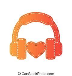 Headphones with heart. Orange applique isolated.