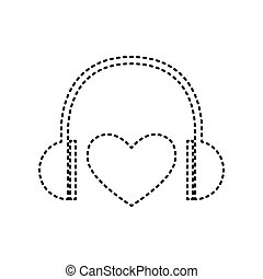 Headphones with heart. Vector. Black dashed icon on white background. Isolated.