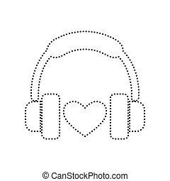 Headphones with heart. Vector. Black dotted icon on white background. Isolated.