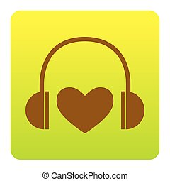 Headphones with heart. Vector. Brown icon at green-yellow gradient square with rounded corners on white background. Isolated.
