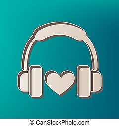 Headphones with heart. Vector. Icon printed at 3d on sea color background.