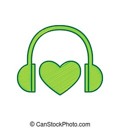Headphones with heart. Vector. Lemon scribble icon on white background. Isolated