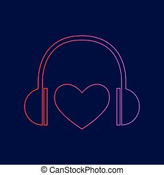 Headphones with heart. Vector. Line icon with gradient from red to violet colors on dark blue background.