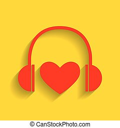 Headphones with heart. Vector. Red icon with soft shadow on golden background.