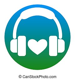 Headphones with heart. Vector. White icon in bluish circle on white background. Isolated.