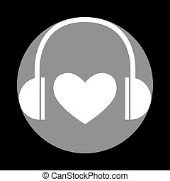 Headphones with heart. White icon in gray circle at black backgr