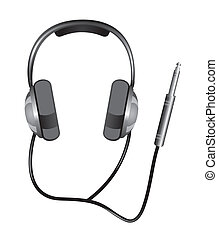 headphones with jack plug isolated over white background. vector