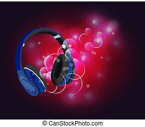 Headphones with magic of music. Blue headphones and red abstract lights.