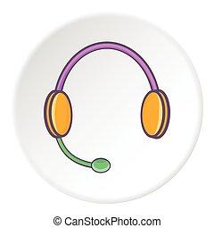 Headphones with microphone icon, cartoon style