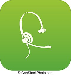 Headphones with microphone icon green vector