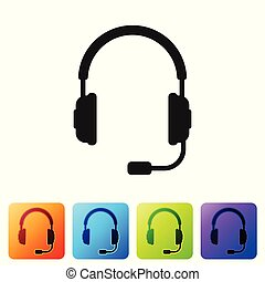 Headphones with microphone icon on white background. Earphones sign. Concept object for listening to music, service, communication and operator. Set icon in color square buttons. Vector Illustration