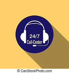 Headphones with microphone on blue round button and 24/ call center lettering, long shadow