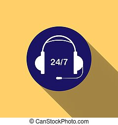 Headphones with microphone on blue round button and inscription 24/, long shadow