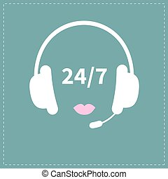 Headphones with microphone Pink lips Non stop 24 7 customer service Support operator help icon Flat design