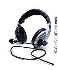 Stereo headphones with microphone isolated on white