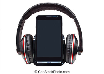 Mobile phone with headphones isolated on white background.