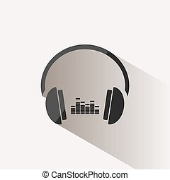 Headphones with music icon on beige background and shadow