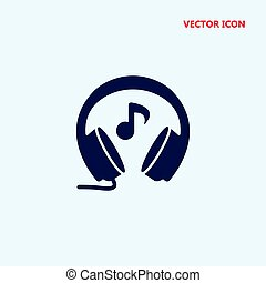 headphones with music note vector icon