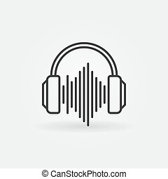 Headphones with sound wave outline icon. Vector linear sign