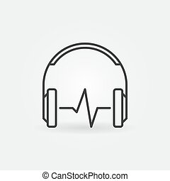 Headphones with sound wave vector outline icon or symbol