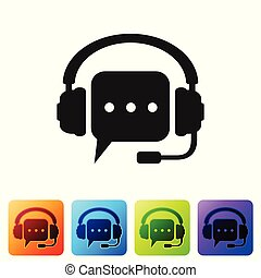 Headphones with speech bubble icon on white background. Support customer services, hotline, call center, guideline, faq, maintenance, assistance. Set icon in color square buttons. Vector Illustration