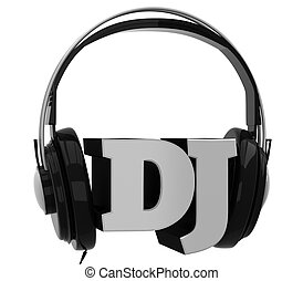 Headphones with the inscription dj on white background