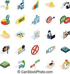 Headquarters icons set, isometric style - Headquarters icons...