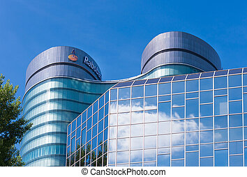 rabobank headquarters building in utrecht, netherlands. Rabobank is a Dutch bank, consisting of 136 (2013) independent cooperatives with all its own banking license from the Dutch Central Bank