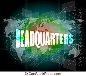 Hype word on digital screen background with world map stock headquarters words on digital screen background with world map gumiabroncs Choice Image