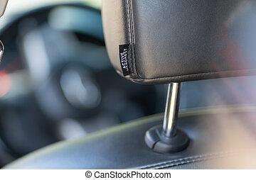 headrest., cuero, primer plano, coche