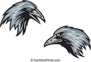 Heads of blackbirds or ravens - Cartooned blackbirds,...