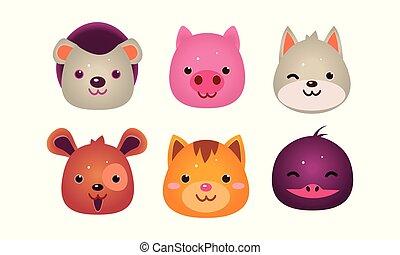 Heads of cute animals set, bear, face of dog, cat, bird,...