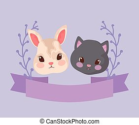heads of cute cat with rabbit baby animals