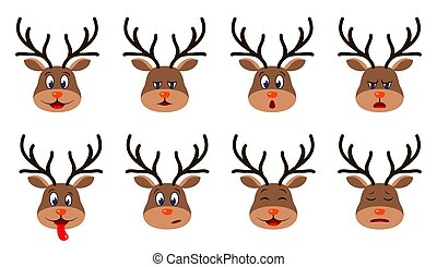 Heads of Deer with Different Emotions - Smiling, Sad, Anger...