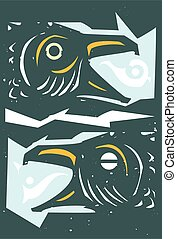 heads of fighting crows - Woodcut style Expressionistic ...