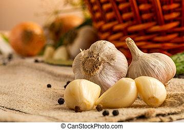 heads of garlic close-up
