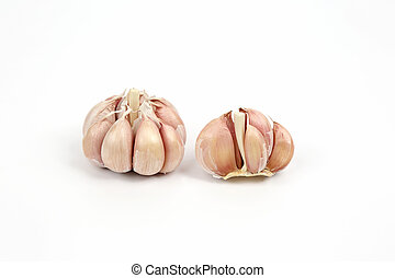 heads of garlic on a white background