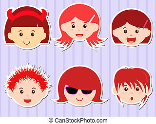 Heads of Girls/Boys with Red Hair - A Theme of cute vector...