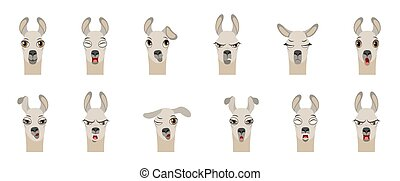 Heads of Lama with Different Emotions - Smiling, Sad, Anger...