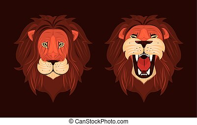 heads of lions kings front colorful icons