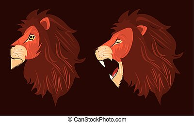 heads of lions kings profiles colorful icons