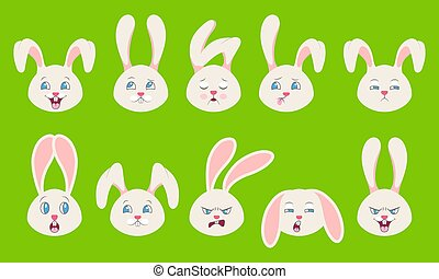 Heads of Rabbit with Different Emotions - Cheerful, Sad, ...