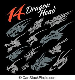 Heads of the dragon - 14 heads of the dragon. Vector set.