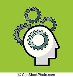 heads sprockets human illustration icon vector design...