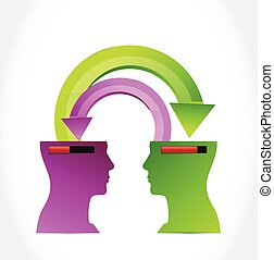 heads transferring information. illustration design over a...