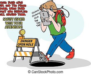 Heads up - An individual texting and walking unaware of the...